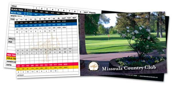 Missoula Country Club Golf Score Card